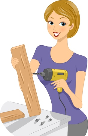 handicrafts: Illustration of a Girl Using a Drill Stock Photo