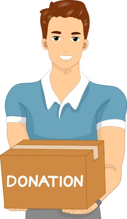 charity collection: Illustration of a Man Carrying a Donation Box Stock Photo