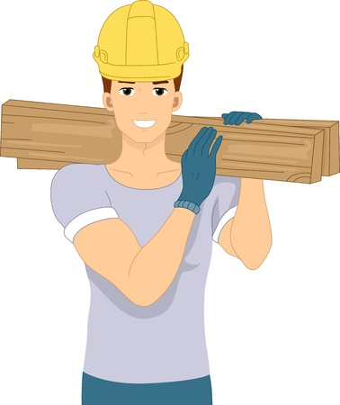 construction worker cartoon: Illustration of a Man Doing Construction Work Stock Photo