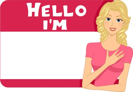 name tag: Illustration of a Blank Name Tag for a Girl