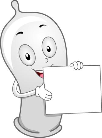 Illustration of a Condom Holding a Blank Board illustration