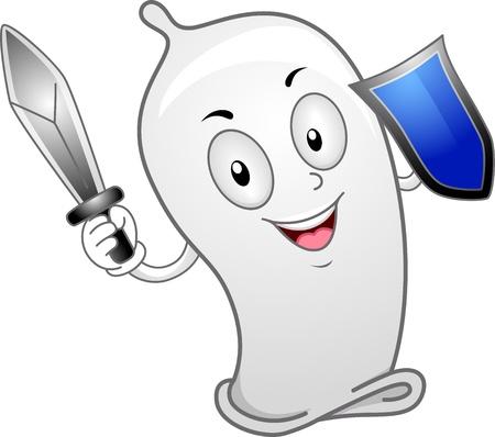 birth control: Illustration of a Condom Wielding a Sword