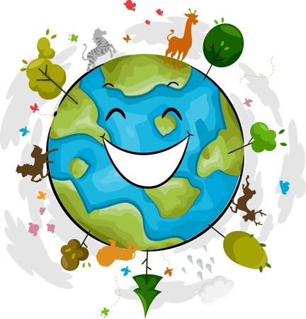 madre tierra: Ilustración de una mascota de la Tierra Feliz Foto de archivo
