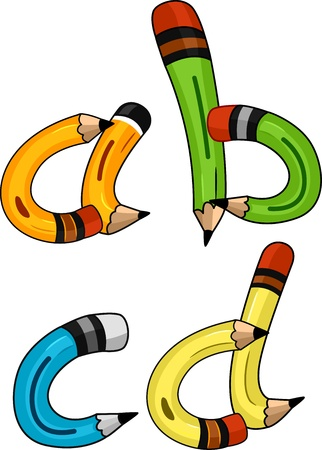 writing materials: Illustration of Pencils Shaped Like Letters of the Alphabet
