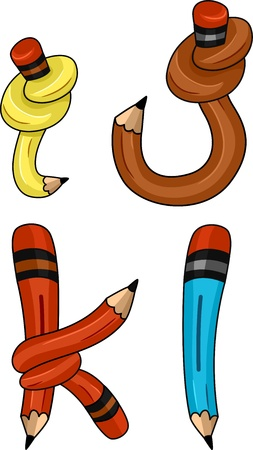 Illustration of Pencils Shaped Like Letters of the Alphabet Stock Illustration - 12575389