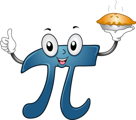 math: Illustration of a Pi Mascot Carrying a Pie