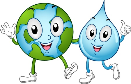 advocacy: Illustration of World and Water Mascots Walking Together