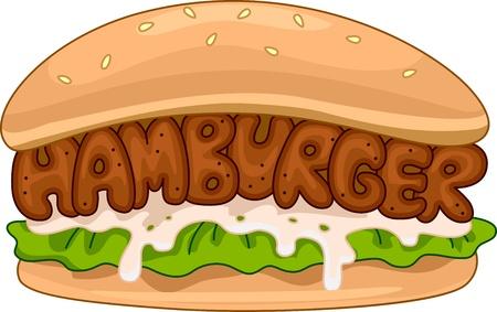 food clipart: Illustration of a Juicy Hamburger Stock Photo