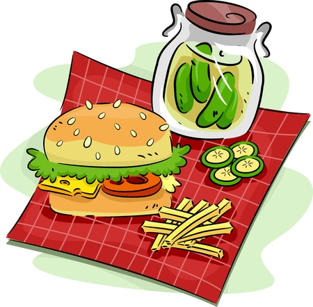 pickle: Illustration of a Hamburger and a Pickle Jar
