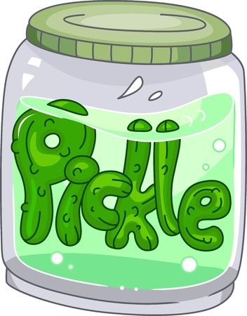 pickles: Ilustraci�n de un tarro de la salmuera Foto de archivo