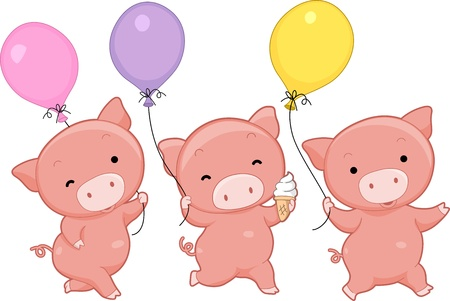 Illustration of Pigs Holding Balloons illustration