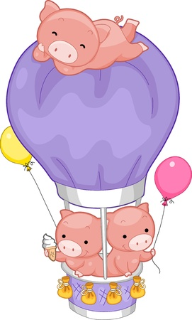 air animals: Illustration of Pigs in a Hot Air Balloon