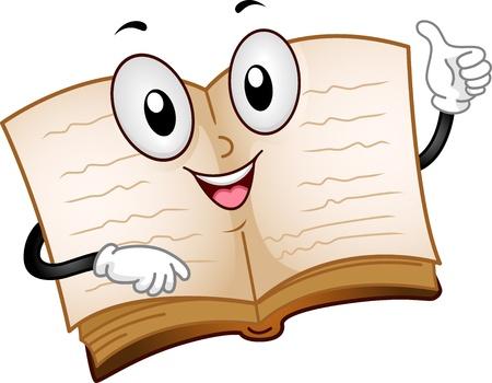 Illustration of an Open Book Mascot illustration