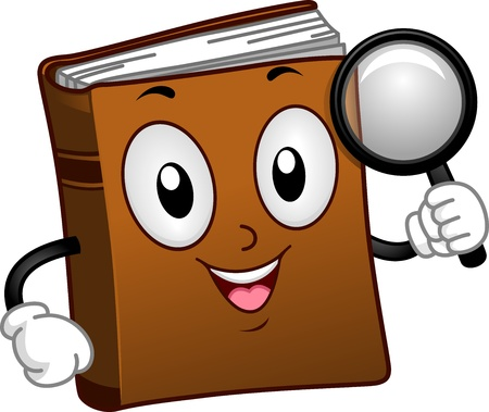Illustration of a Book Mascot Holding a Magnifying Glass illustration