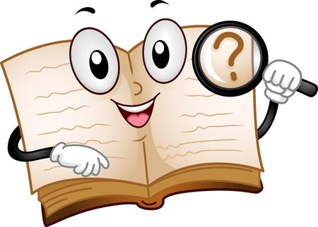 Illustratie van een Open Boek Mascot Het houden van een vergrootglas
