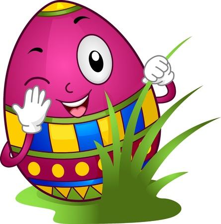 Illustration of an Easter Egg Hiding Behind Grasses illustration