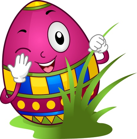 april clipart: Illustration of an Easter Egg Hiding Behind Grasses