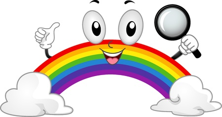 april clipart: Illustration of a Rainbow Mascot Holding a Magnifying Glass
