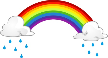 rainclouds: Illustration of a Rainbow Hiding Behind Rainclouds Stock Photo