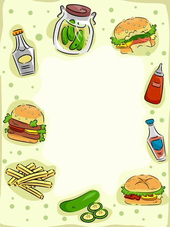 food clipart: Frame Illustration Featuring Hamburgers and Pickles