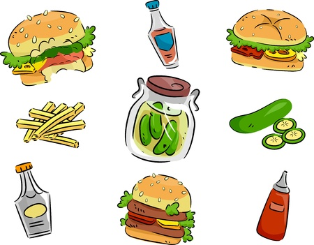 april: Icon Illustration Featuring Pickles and Hamburgers Stock Photo