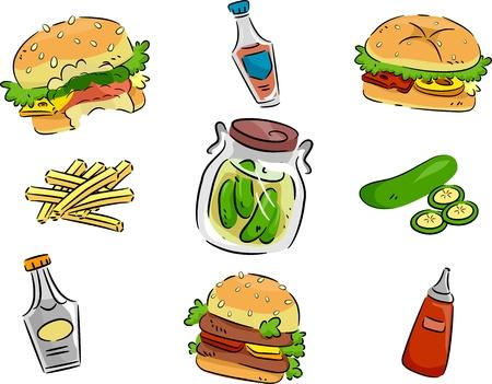 pepino caricatura: Pickles Icono de ilustraci�n que ofrece y hamburguesas