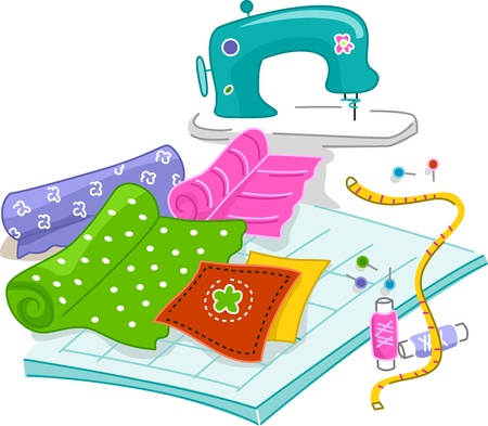 sewing machine: Illustration of Materials Used in Quilting