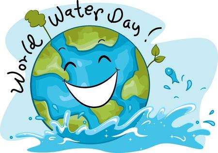 madre terra: Illustrazione Celebrare Giornata Mondiale dell'Acqua Archivio Fotografico