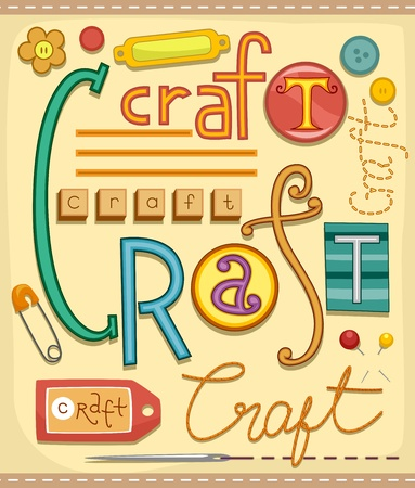 arts and crafts: Illustration of Various Materials used for Arts and Crafts Stock Photo