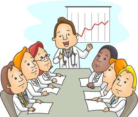 Illustration of a Groupr of Doctors in the Middle of a Meeting illustration