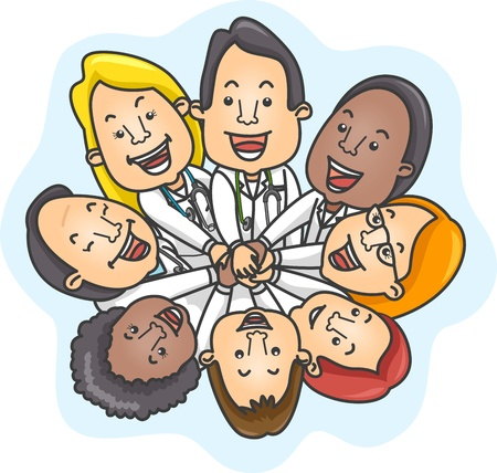 Illustration of a Team of Doctors Demonstrating Unity illustration