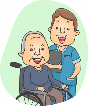 nurse home: Illustration of a Nurse and His Elderly Patient