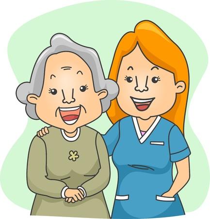 ordelijk: Illustratie van een verpleegster en haar oudere patiënt