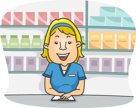 medical assistant: Illustration of a Female Pharmacist