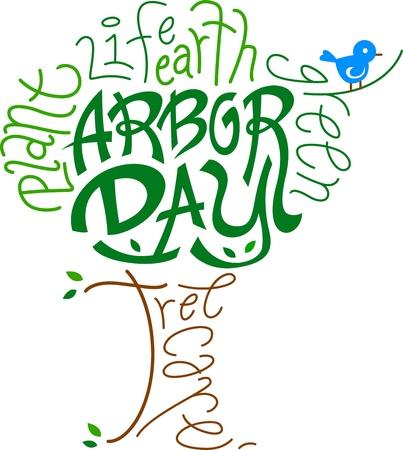 april clipart: Text Illustration Celebrating Arbor Day Stock Photo