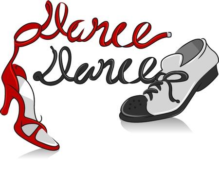 tanzen cartoon: Illustration, die eine Paar Tanzschuhe Lizenzfreie Bilder