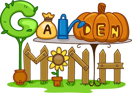 april clipart: Illustration Featuring Gardening Related Items Stock Photo