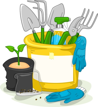 gardening tools: Illustration Featuring Gardening-Related Items