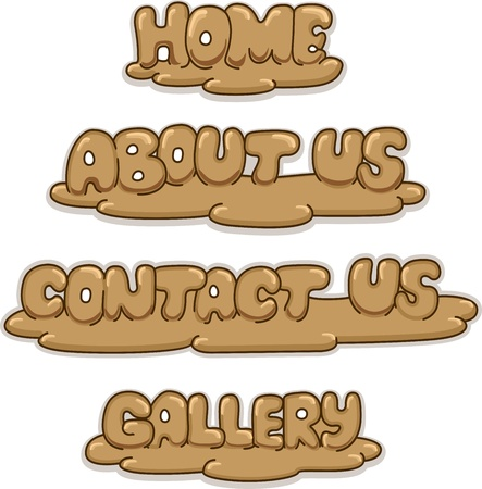 Illustration Featuring Web Buttons with a Wooden Sculpture Design illustration