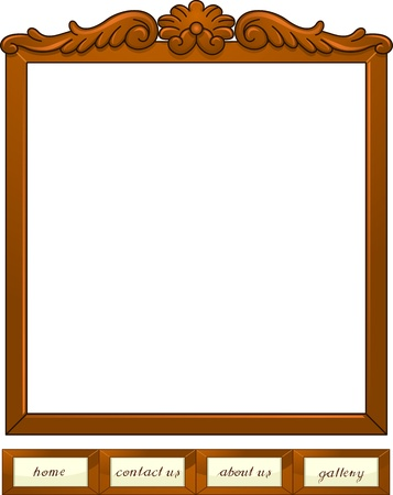 Illustration of Web Buttons with a Wooden Frame Design illustration