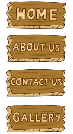 Four Illustrations of Wood Web Buttons illustration