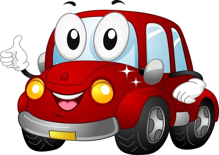 carro caricatura: Ilustraci�n de una mascota de coches con un pulgar hacia arriba