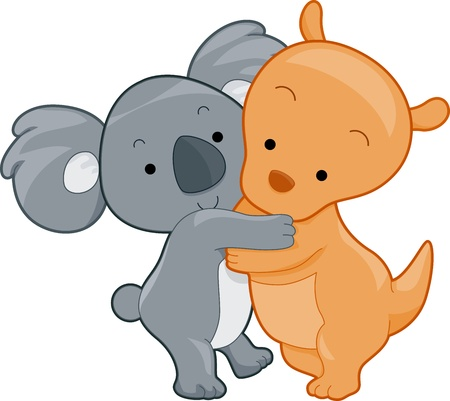 Illustration of a Koala and Kangaroo Hugging Each Other illustration