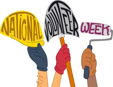 charity work: Text Illustration Celebrating National Volunteer Week Stock Photo