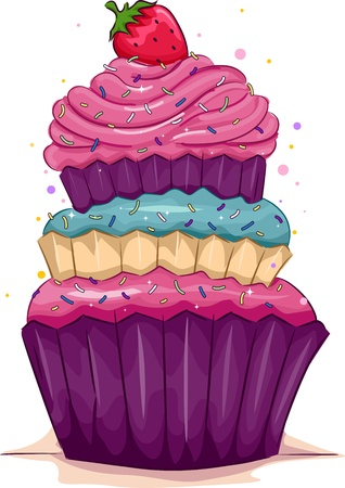 cartoon cake: Illustration of a Multi-Layered Cupcake with a Strawberry on Top Stock Photo