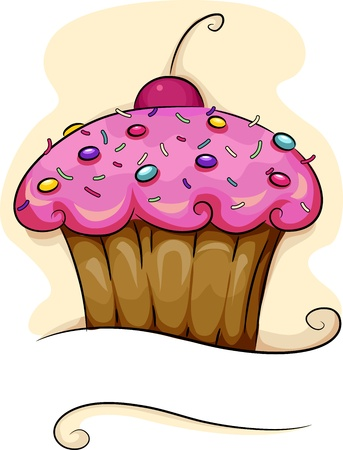 sprinkle: Illustration of a Cupcake with a Cherry on Top
