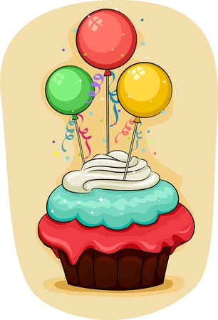 Illustration of a Cupcake with Miniature Balloons on Top illustration