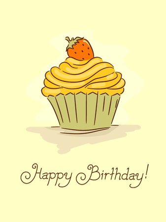 Illustration of a Birthday Card with a Cupcake on the Cover illustration