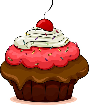 Illustration of a Cupcake with a Cherry on Top illustration