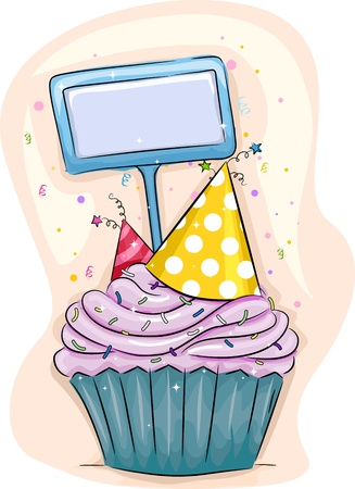 Illustration of a Cupcake with Party Hats on Top illustration